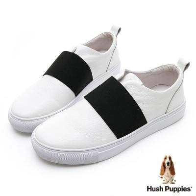 Hush Puppies Qwotpermtp 皮革直套女便鞋-白