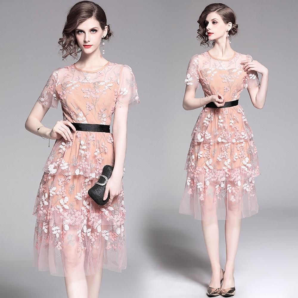 清新杏色焦點印花收腰蕾絲蛋糕裙洋裝S-2XL-M2M