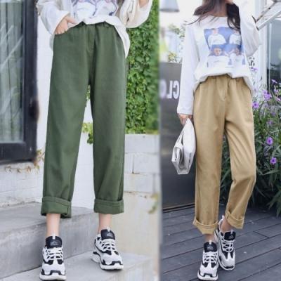 La Belleza素色單釦鬆緊腰側口袋工作褲卡其褲直筒寬褲