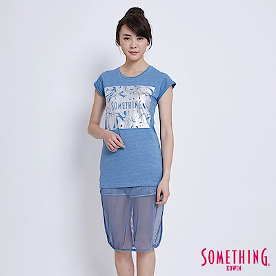 SOMETHING 銀箔印花剪接長版造型T恤-女-漂淺藍