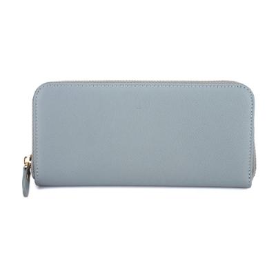 J II-長夾 壓紋ㄇ型牛皮拉鍊長夾-灰藍色-5101-4