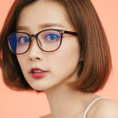ALEGANT簡約造型輕量亮棕方框UV400濾藍光眼鏡
