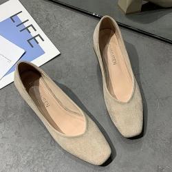 KEITH-WILL時尚鞋館 韓國氣質學院優雅方頭跟鞋-杏