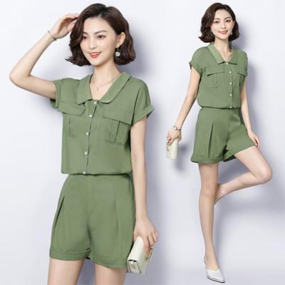 【韓國K.W.】簡約造型美背收腰套裝