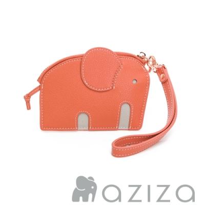 aziza小象造型鑰匙零錢包 珊瑚紅