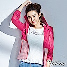 Victoria 條紋配布外套-女-桃紅