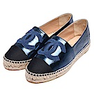 CHANEL 經典Espadrilles小香LOGO金屬光澤小牛皮鉛筆鞋(藍)