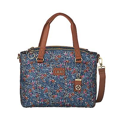 斜背手提方型包-微型手繪印花-藍 - LiliO