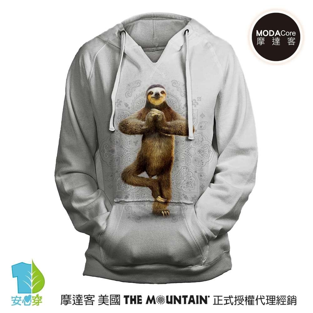 摩達客 預購 美國進口The Mountain 功夫樹懶灰白底 女版V領長袖連帽T恤