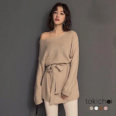 東京著衣 韓國姊姊可拉斜肩多色大圓領綁帶上衣(共四色)