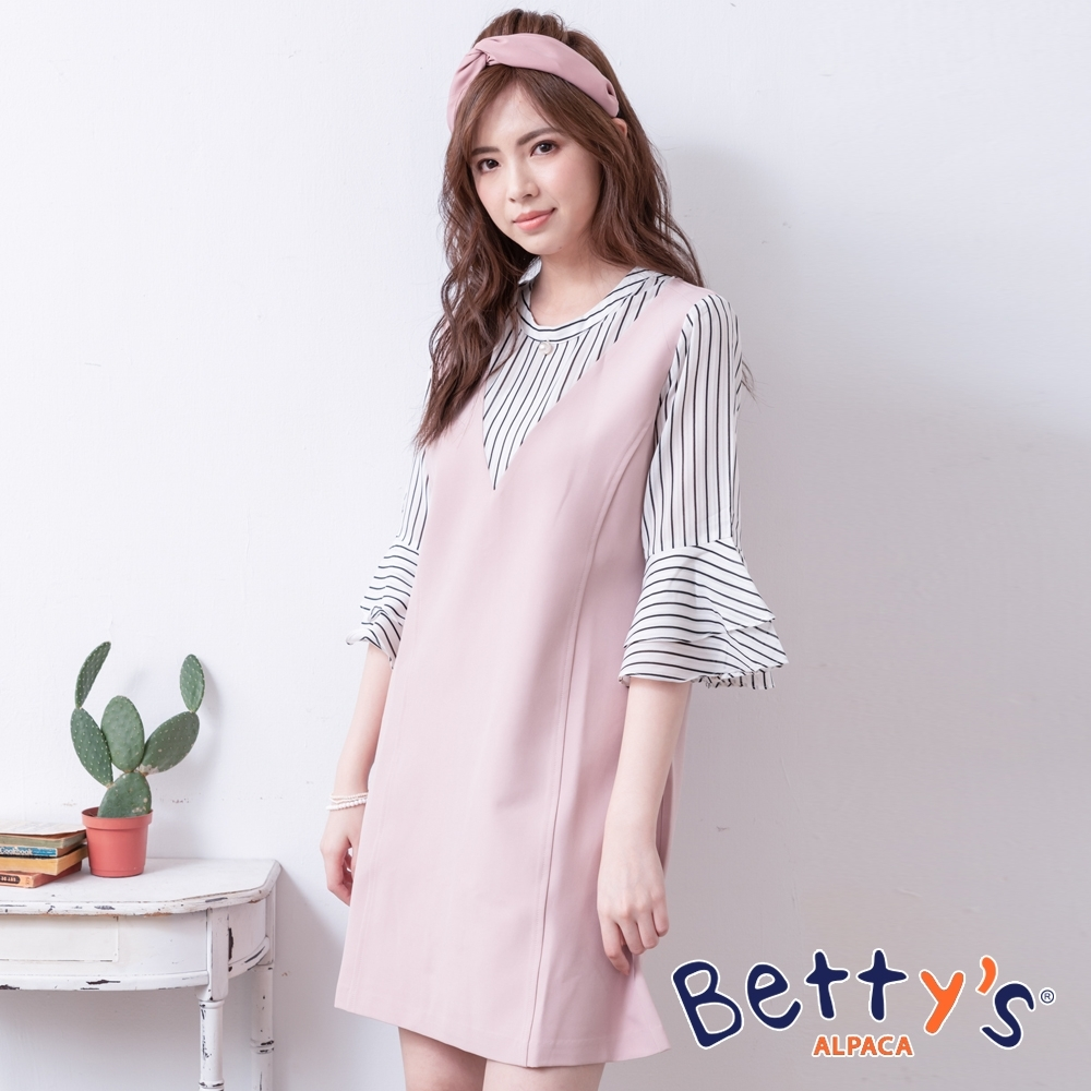 betty's貝蒂思 條紋拼接異材質洋裝(粉色)