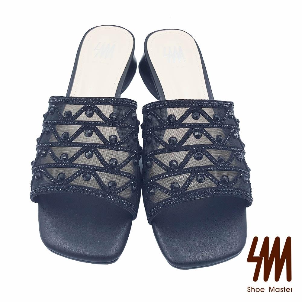 【SM】方頭幾何圖型水鑽網紗低跟拖鞋