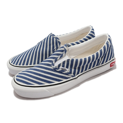 Vans 休閒鞋 Classic Slip-On T 男鞋 無鞋帶 好穿脫 懶人鞋 條紋 簡約 藍 白 VN0A4UUD2Q5