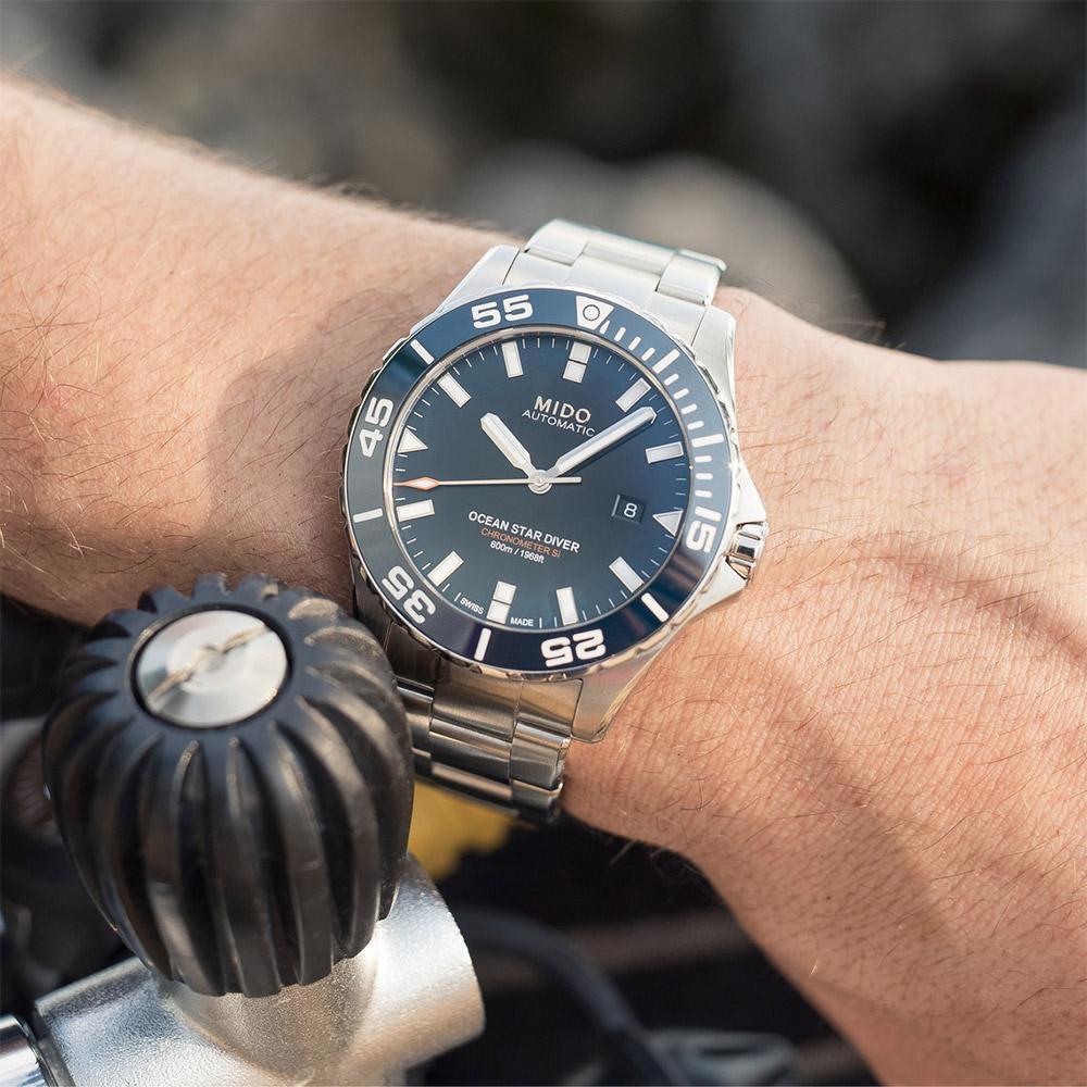 MIDO 美度 Ocean Star 海洋之星深潛600米陶瓷潛水錶-藍x銀/44mm M0266081104100