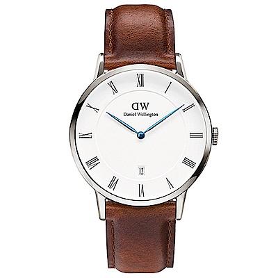 DW手錶 官方旗艦店 38mm銀框 Dapper 紅棕真皮皮革手錶