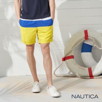 Nautica經典拼接鬆緊綁帶海灘褲-藍黃