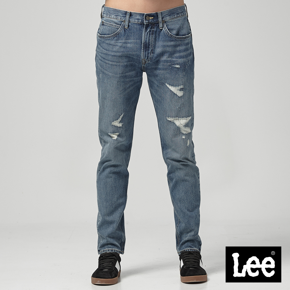 Lee 中腰舒適小直筒牛仔褲/RG淺藍色洗水
