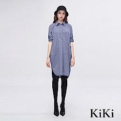 KiKi INLook 落肩前短後長紋襯衫洋裝(藍)