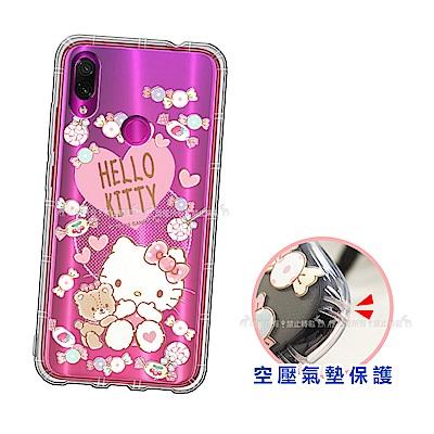 三麗鷗授權 Hello Kitty凱蒂貓 紅米Note 7 愛心空壓手機殼(吃手手)