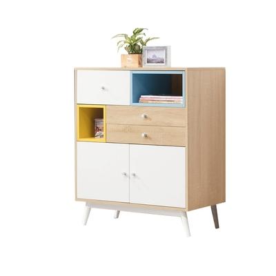 D&T 德泰傢俱 Asa北歐風-藍+白+黃拼色置物櫃  寬80×深40×高95cm