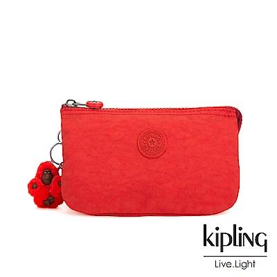 Kipling 珊瑚紅素面三夾層配件包-CREATIVITY L