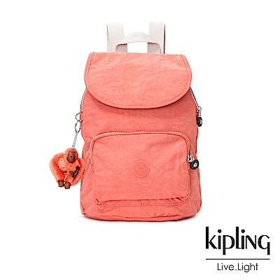 Kipling 粉橘素面後背包(中)