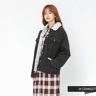 H:CONNECT 韓國品牌 女裝-翻領刷毛牛仔外套-黑