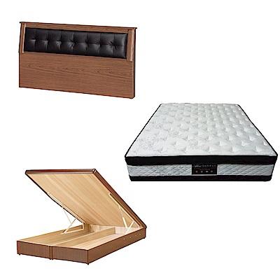 綠活居 亞凱6尺雙人加大床台三式組合(床頭片+後掀床底+正四線涼感獨立筒)五色可選