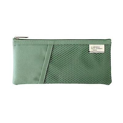 Livework 休閒風雙層對摺收納筆袋V2-薄荷綠