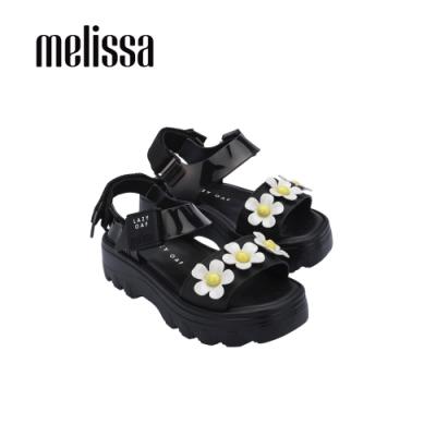 MelissaxLazy Oaf 聯名厚底立體花朵設計涼鞋-黑