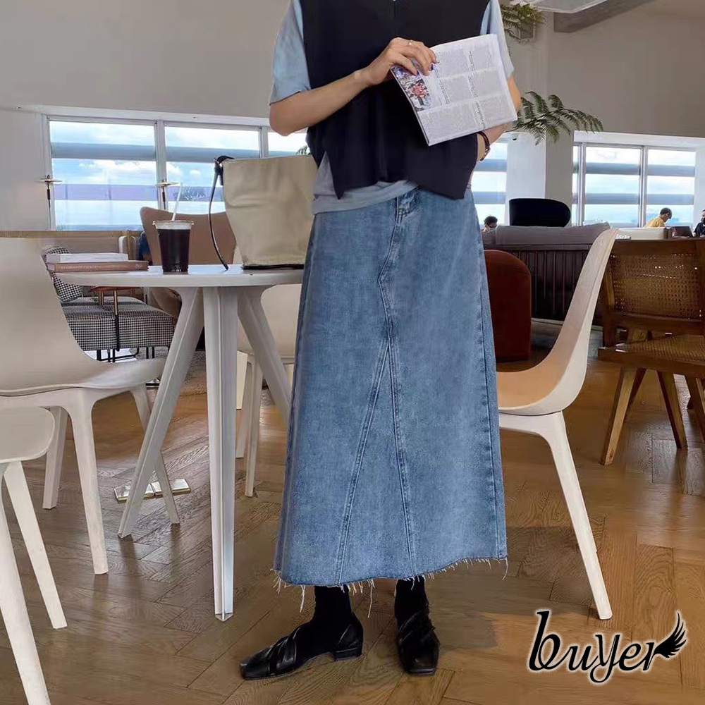 【白鵝buyer】抽鬚 厚磅拼接修身牛仔裙(藍色)