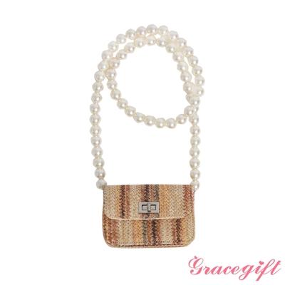 Grace gift-珍珠鍊帶藤編小包 條紋