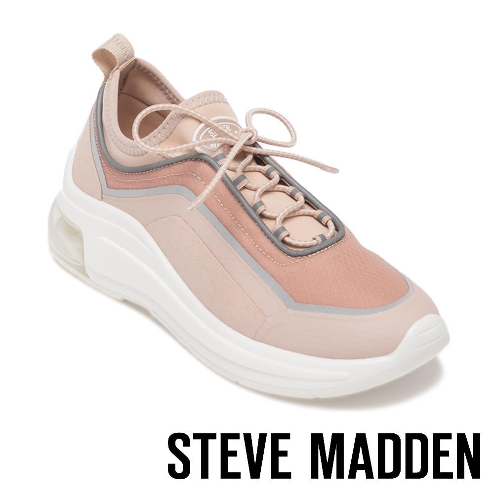 STEVE MADDEN-PAVEL 運動風 綁帶氣墊休閒鞋-粉色