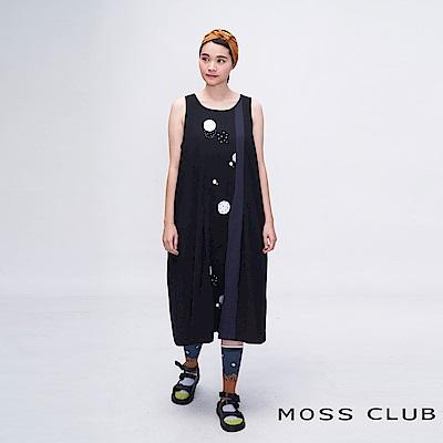 MOSS CLUB INLook小宇宙行星長版拼接背心洋裝(黑色)