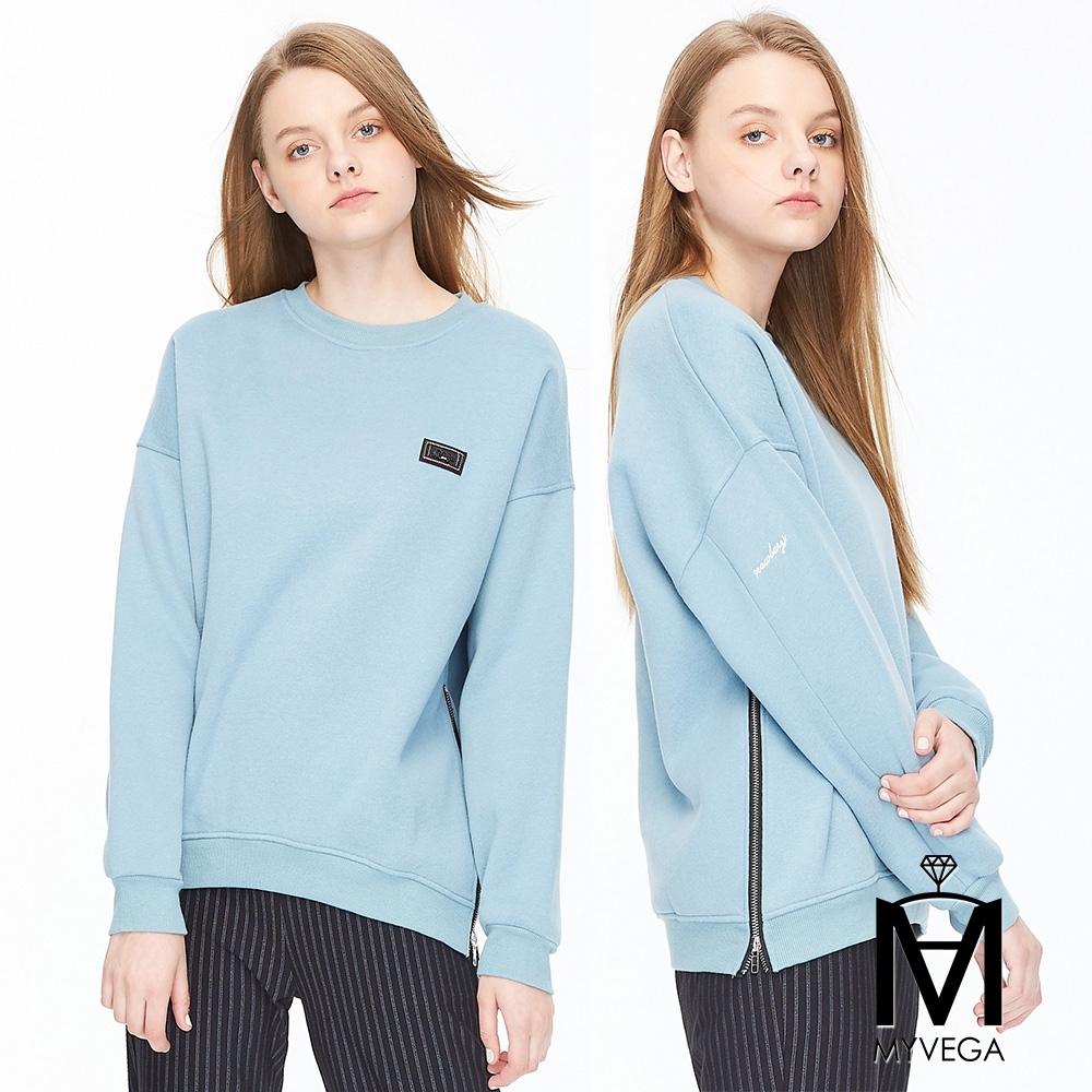 麥雪爾 MA棉質雙拉鍊造型上衣-藍綠