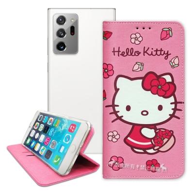 三麗鷗授權 Hello Kitty 三星 Samsung Galaxy Note20 Ultra 5G 櫻花吊繩款彩繪側掀皮套