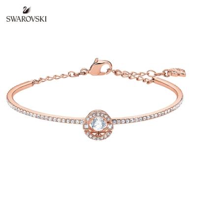 施華洛世奇 Sparkling 玫金色簡約雙圓單鑽手環