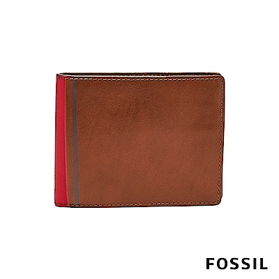 FOSSIL JEROME 撞色款證件零錢袋兩折短夾-焦糖/橘紅