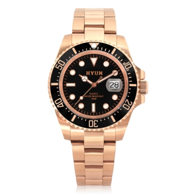 HYUN炫 男士設計精品錶-玫瑰金黑底