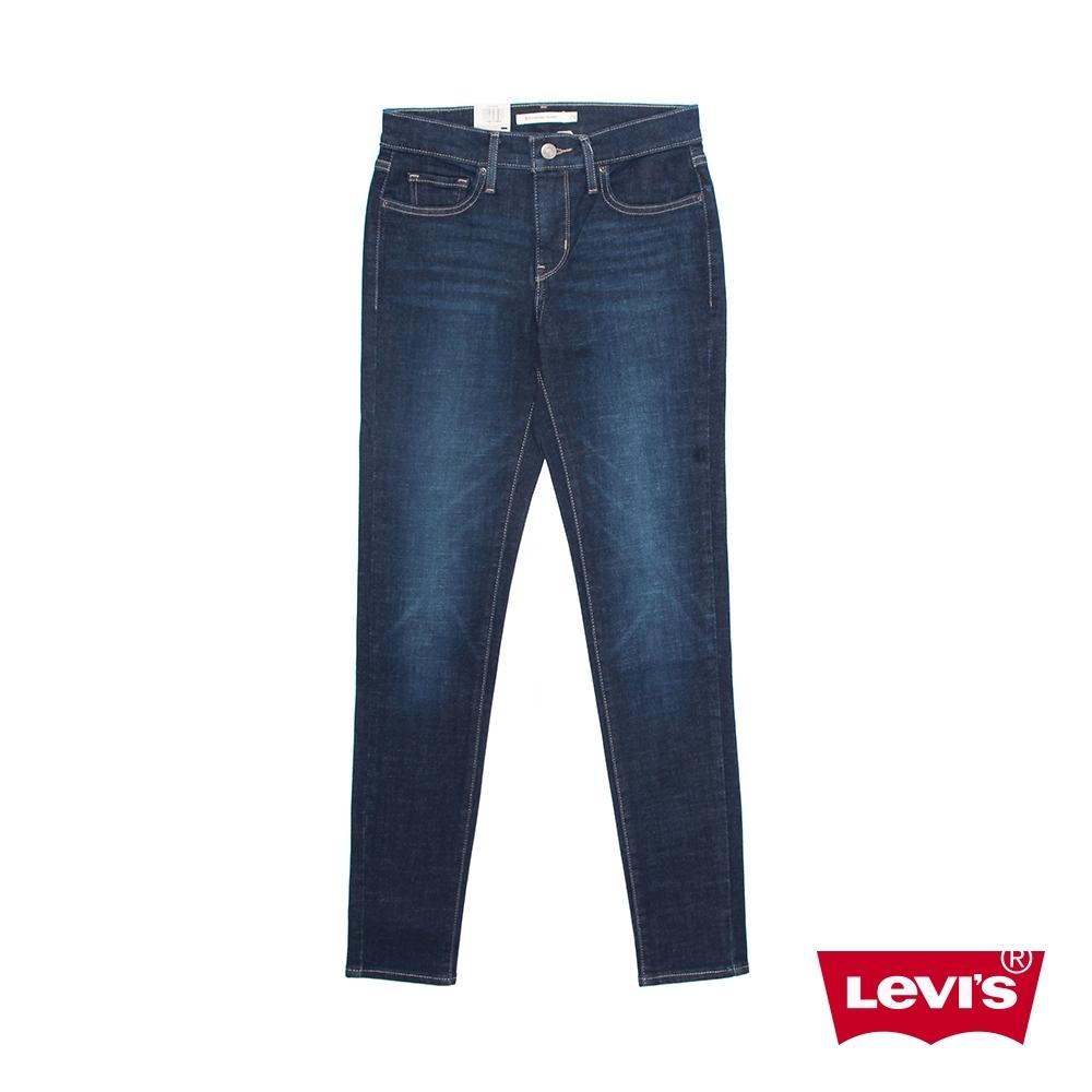 Levis 女款 311中腰縮腹緊身牛仔長褲 / 深藍微刷白 / 彈性布料