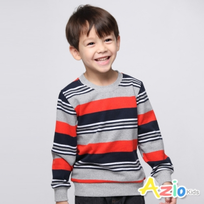 Azio Kids 男童 上衣 休閒圓領雙色橫條紋上衣 (紅)