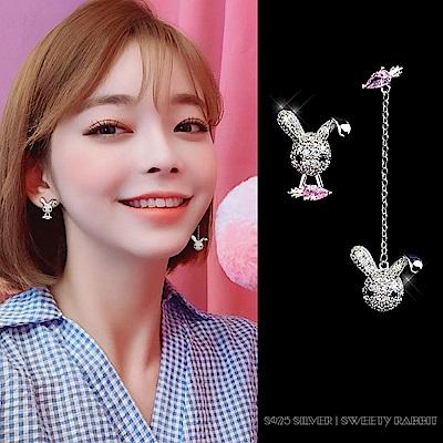 梨花HaNA  耳針/耳夾選韓國925銀針不對稱萌萌小兔子耳線耳環
