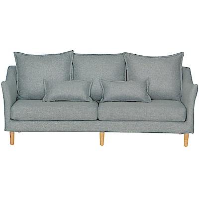 綠活居 沐恩時尚灰亞麻布三人座沙發椅-210x85x79cm免組