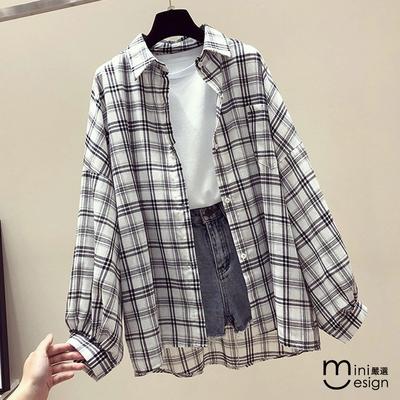 Mini嚴選-復古格紋防曬襯衫外套 五色