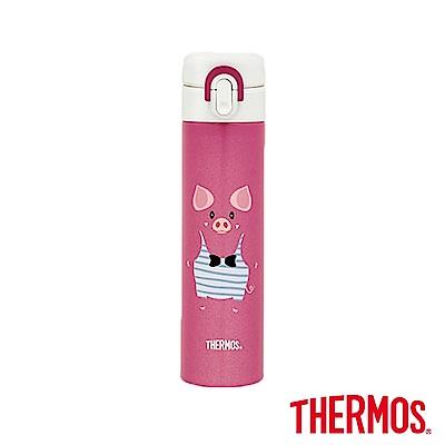 THERMOS膳魔師 俏皮豬 彈蓋不鏽鋼真空保溫瓶0.4L(JNI-402PG-MP)