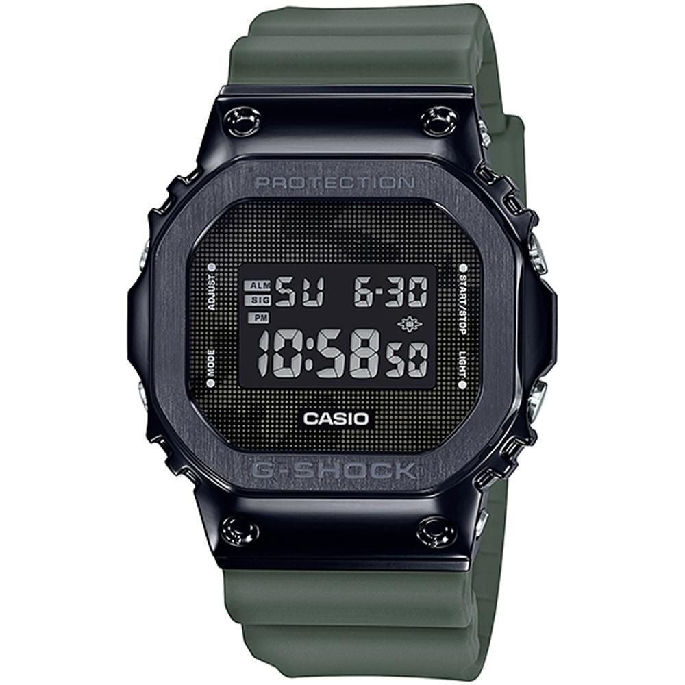 G-SHOCK 軍事點陣迷彩風休閒錶-墨綠(GM-5600B-3DR)/43.2mm