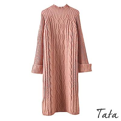 麻花編織坑條針織洋裝 共三色 TATA