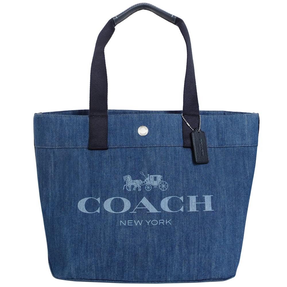 COACH藍色牛仔布馬車圖印肩背購物托特包