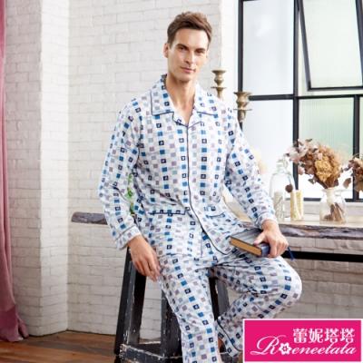 睡衣 針織棉男性長袖褲裝睡衣(R88223-5藍灰格紋) 蕾妮塔塔