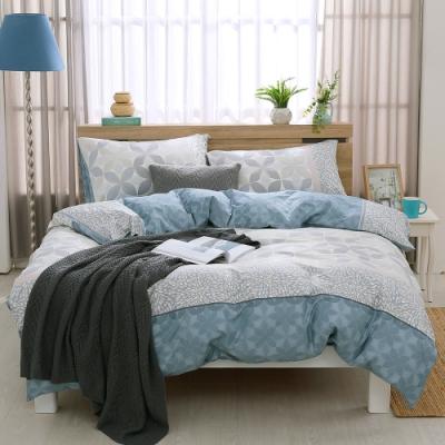 鴻宇 100%精梳棉 朱利安 藍 雙人特大四件式薄被套床包組